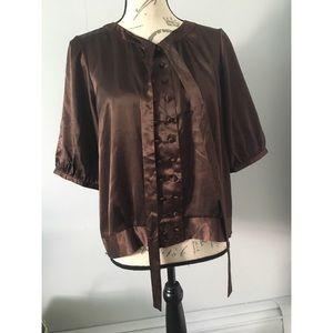 Brown satin blouse